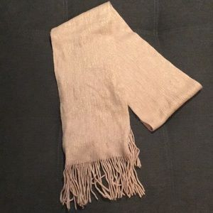 Tan and gold long scarf